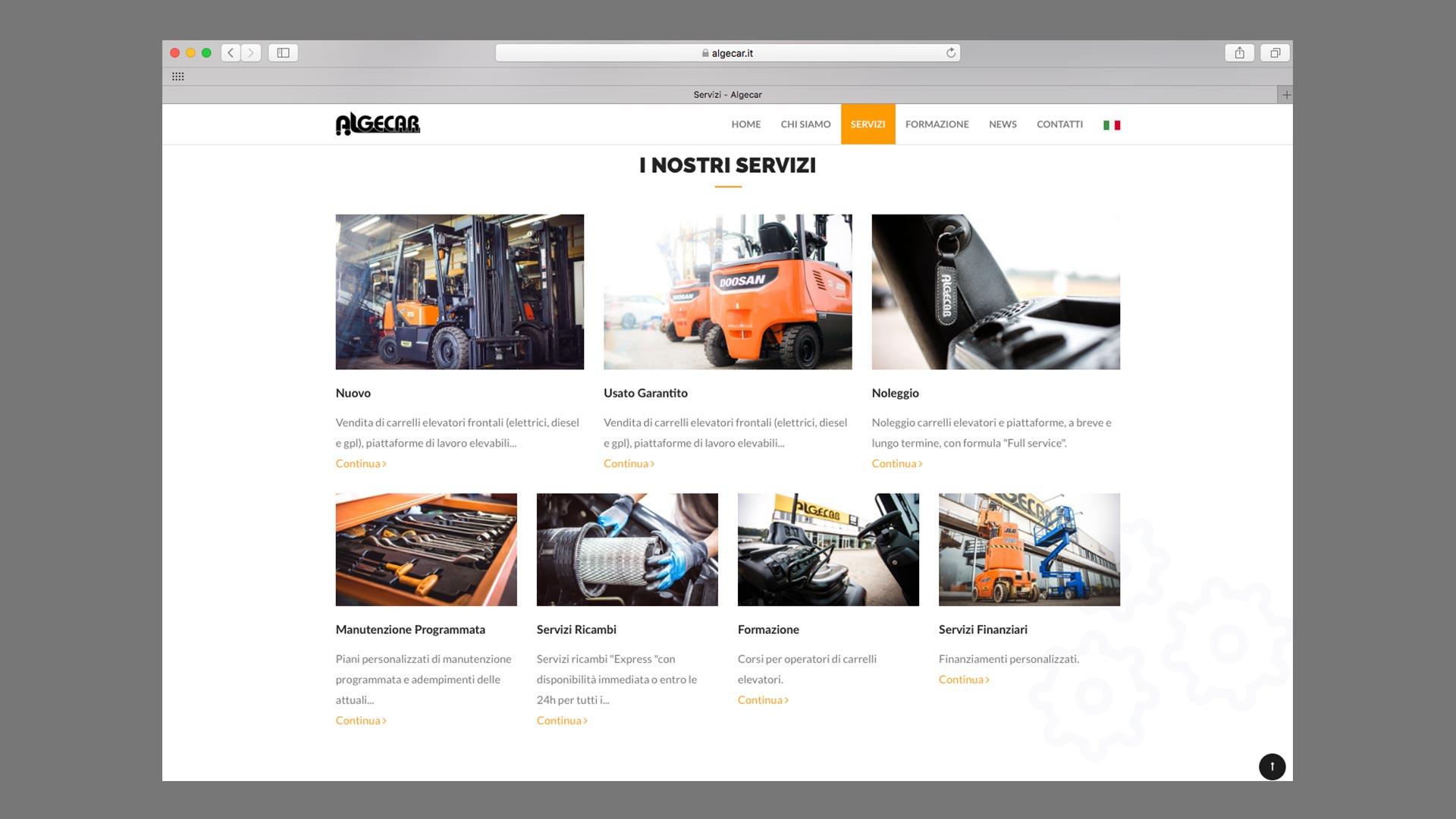 Sito Web di Algecar realizzato da OrangePix a Biella