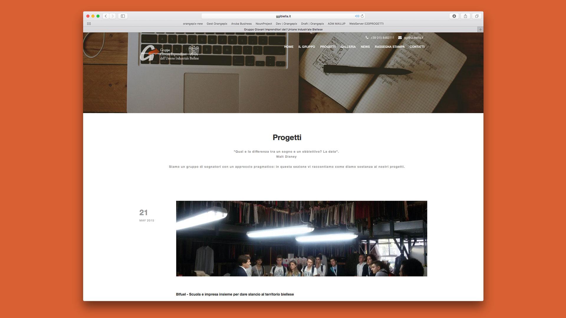 Sito Web di GGI Biella realizzato da OrangePix a Biella