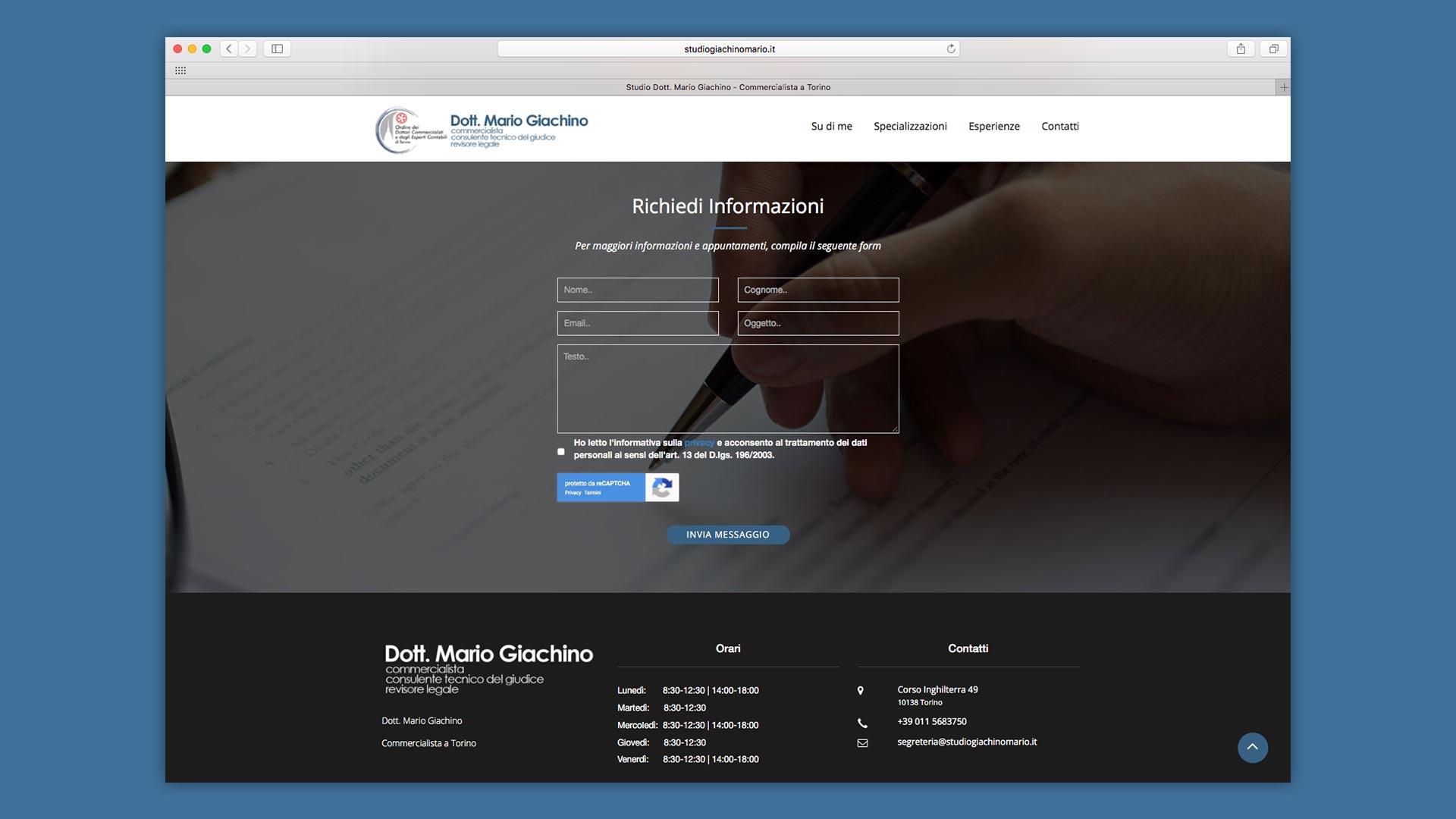 Dottor Mario Giachino Sito Web Modulo di contatti del sito web Commercialista Torino