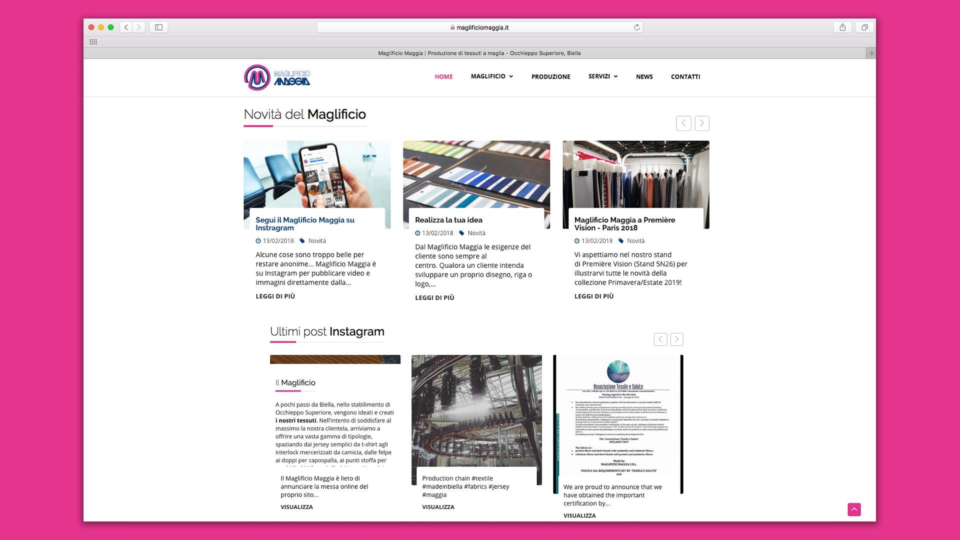 Sito Web del Maglificio Maggia realizzato da OrangePix a Biella