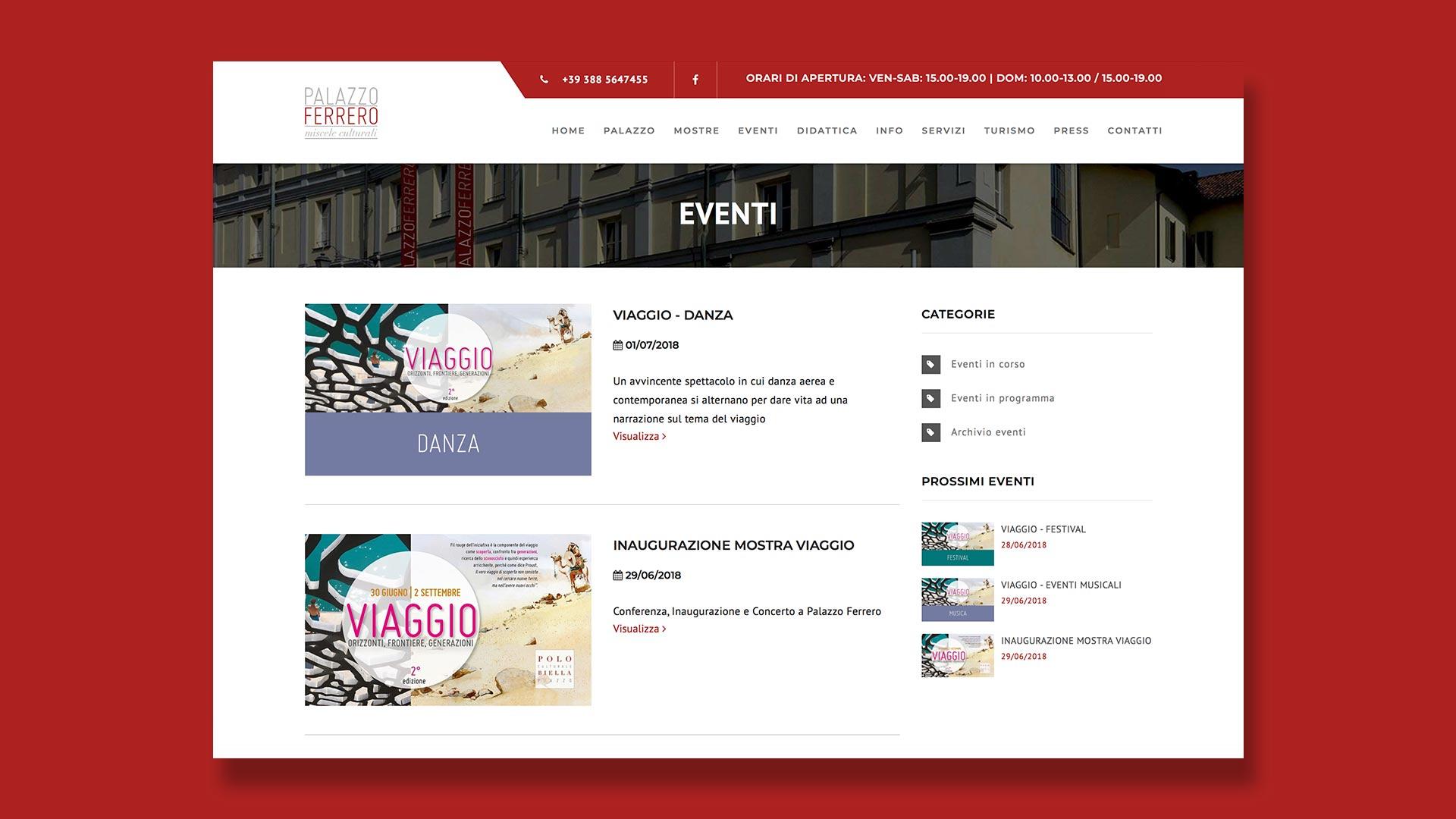 Sito Web di Palazzo Ferrero realizzato da OrangePix a Biella