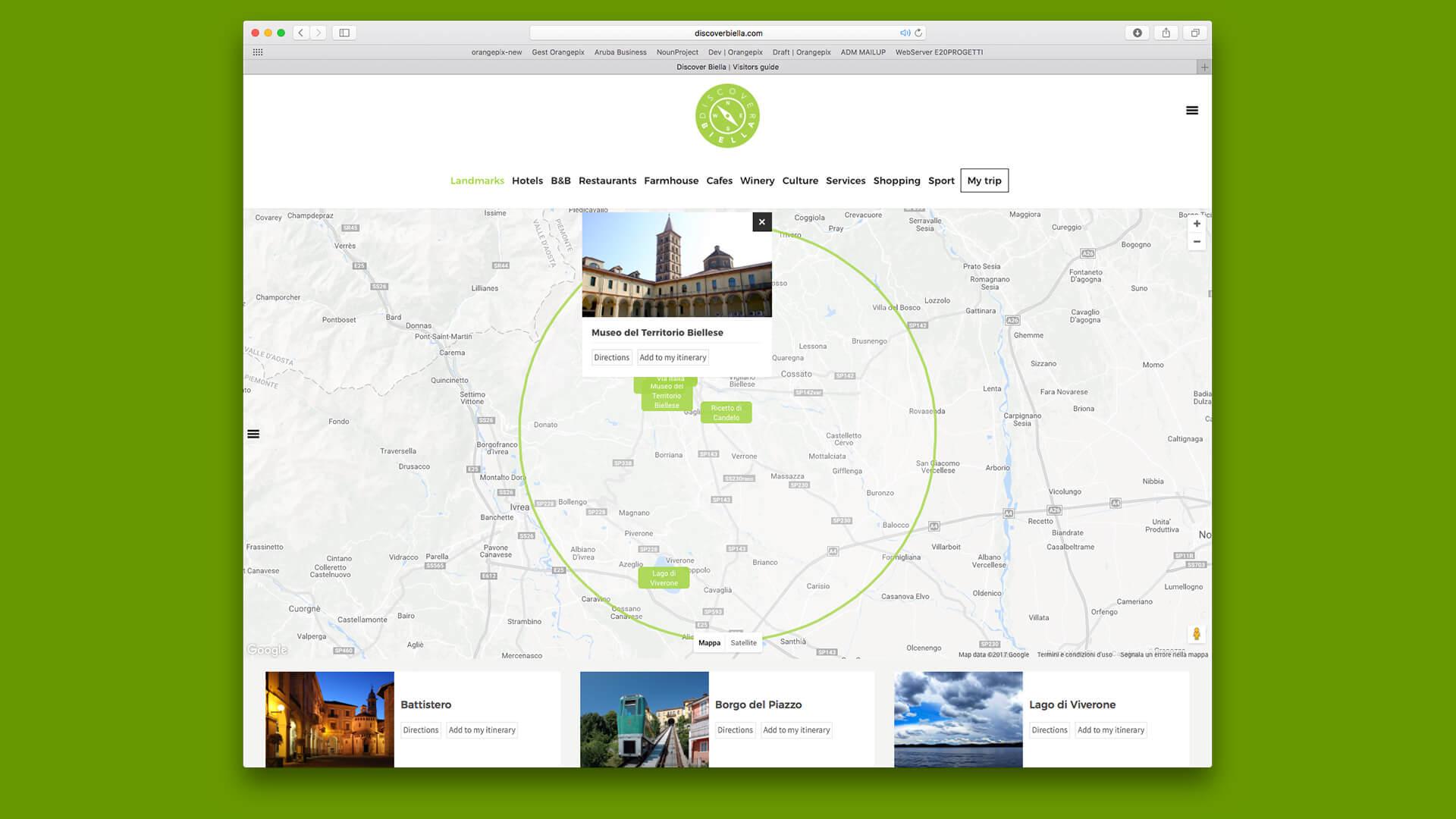 Mappe itinerario Biella