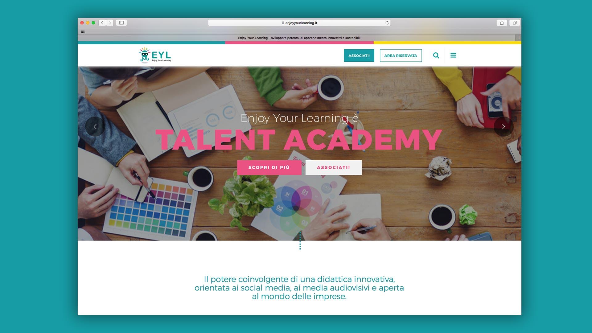 Sito Web di piattaforma e-learning realizzato da OrangePix a Biella