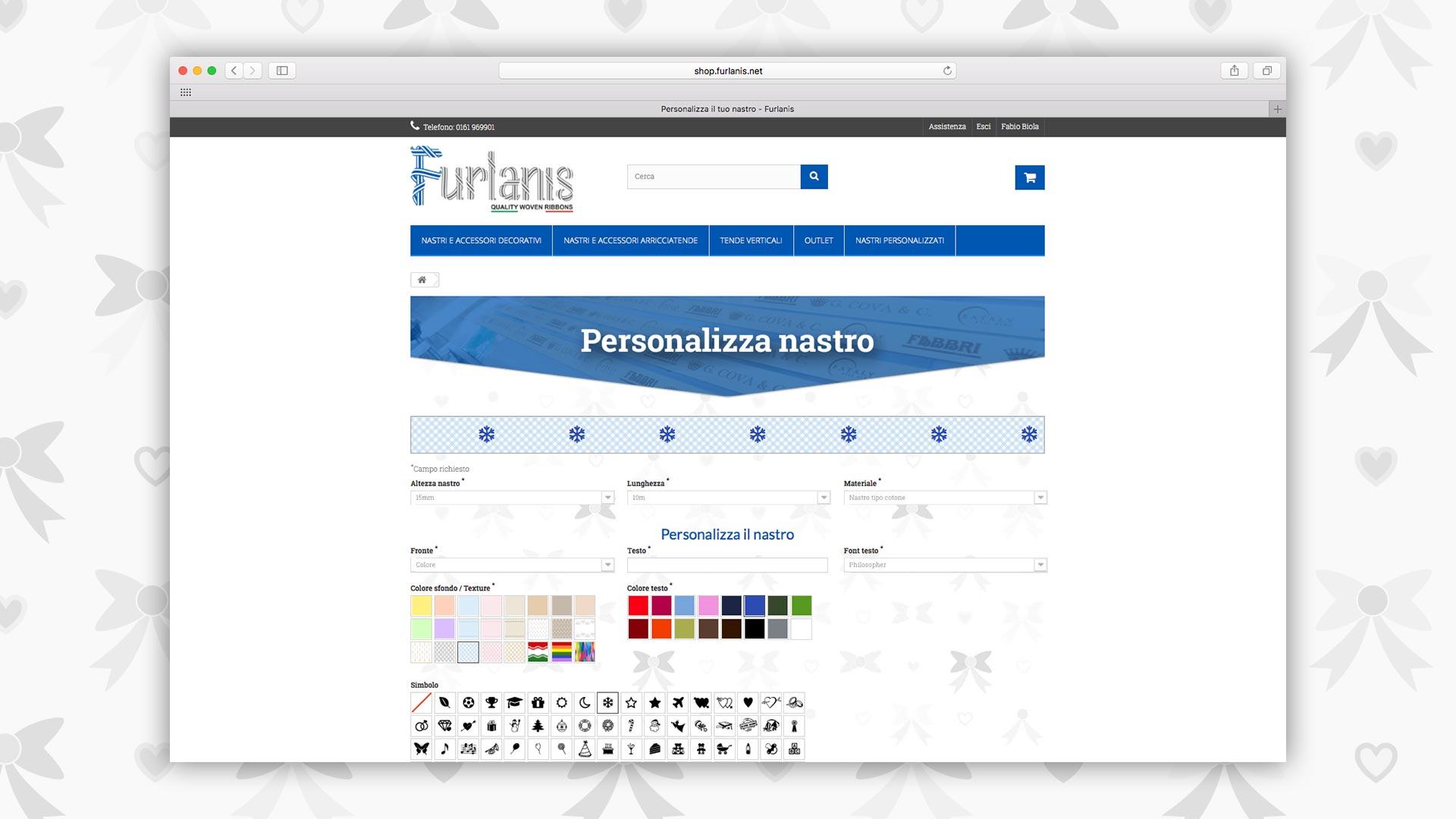 Pagina personalizzazione nastro e-commerce Furlanis