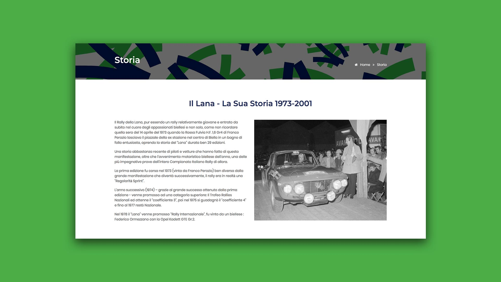 Sito Web di Rally Lana realizzato da OrangePix a Biella