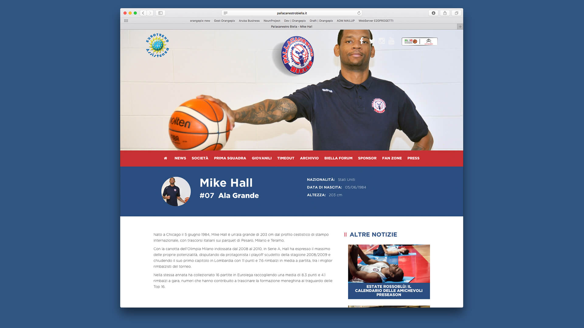 Scheda giocatore pallacanestro