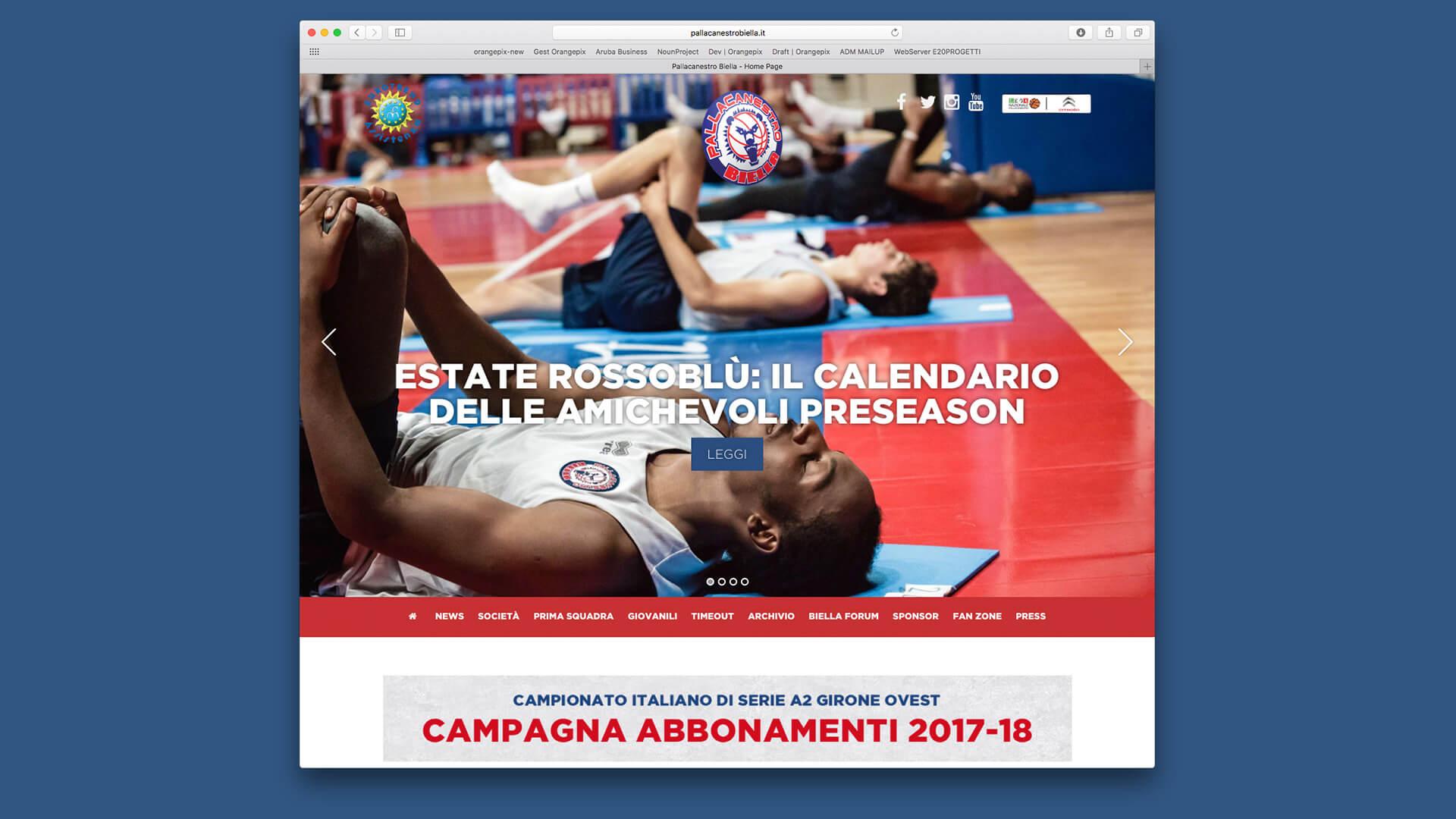 Anteprima homepage del sito