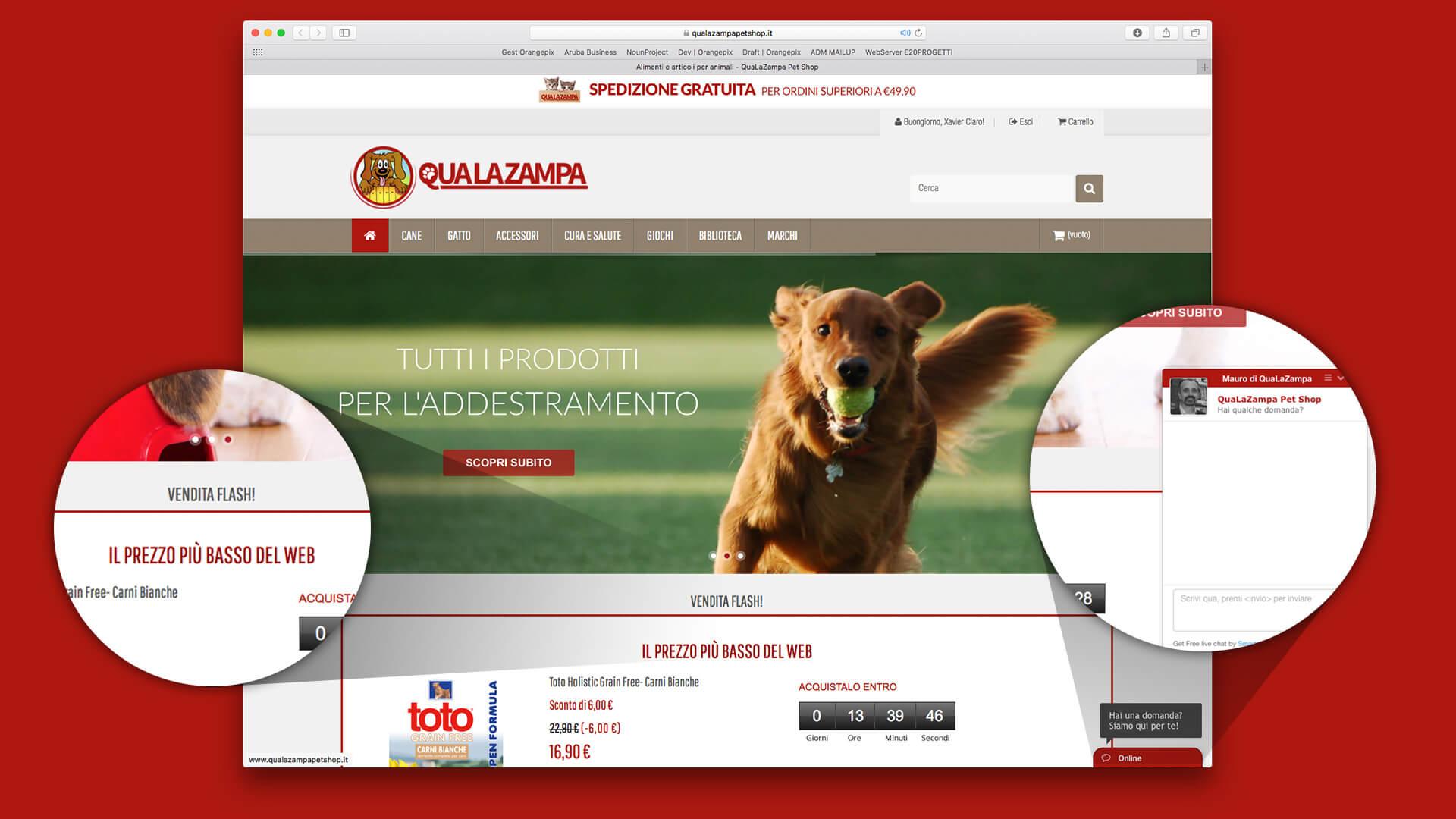 Home page del pet e-shop