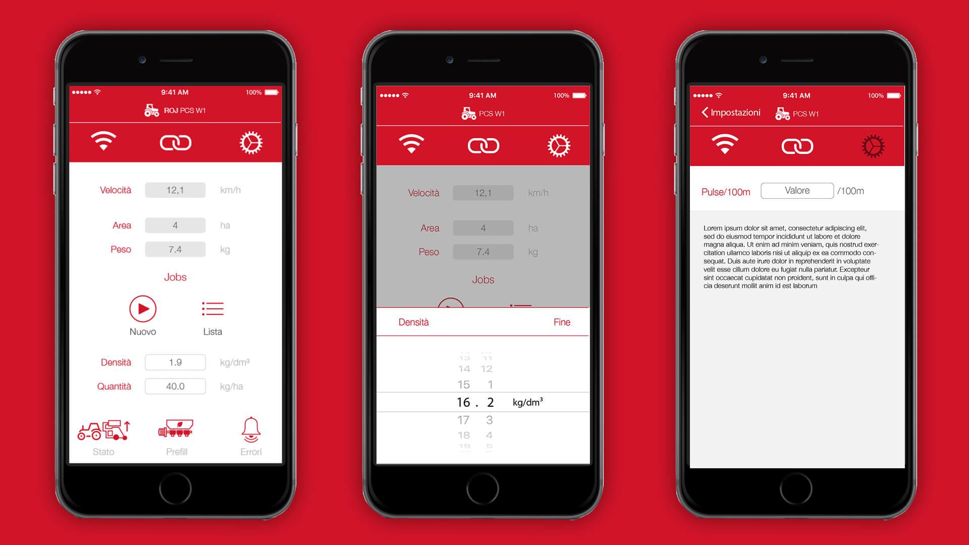 Pagine dell'app PCS W1
